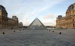 Musee du Louvre. Pyramids and architecture of musee du Louvre in Paris, capitale of France Stock Photography