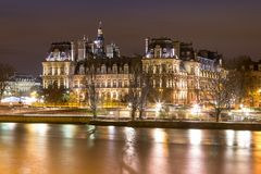 Musee Louvre in Paris by night. France Stock Photography