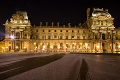 Musee Louvre in Paris by night. France Royalty Free Stock Photo