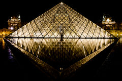 Musee Louvre in Paris by night Royalty Free Stock Photo