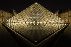 Musee Louvre in Paris by night Royalty Free Stock Photography