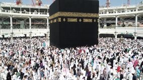 Muselmaner samlade i Mecka av världens olika länder stock video