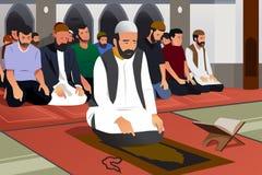 Muselmaner som ber i en moskéillustration Fotografering för Bildbyråer