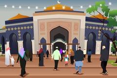 Muselmaner som går till moskén att be illustrationen royaltyfri illustrationer