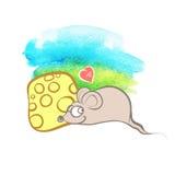 Musen, hjärtan och ost på vattenfärgsommarbakgrund Royaltyfria Bilder