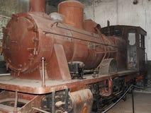 Museo al aire libre viejo en invierno, Rusia de Pereslavl de la locomotora de vapor imágenes de archivo libres de regalías