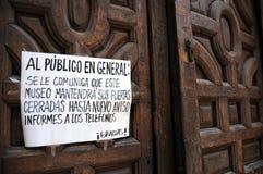 Museo cerrado debido a gripe Fotos de archivo