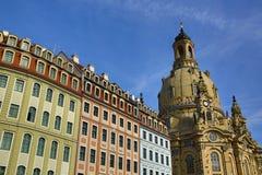 Museo, chiesa della nostra signora Frauenkirche, vecchia costruzione nel centro della città Dresda, Germania Fotografie Stock