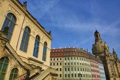 Museo, chiesa della nostra signora Frauenkirche, vecchia costruzione nel centro della città Dresda, Germania Immagine Stock Libera da Diritti