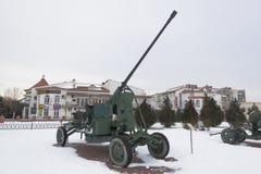 Museo contraereo della pistola automatica AZP-57 all'aperto del ` complesso commemorativo di Krasnaya Gorka del ` nella città di  Fotografie Stock
