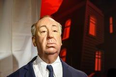 Museo de la cera de Alfred Hitchcock Figurine At Madame Tussauds Fotografía de archivo libre de regalías