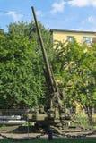 Museo de las fuerzas de la defensa aérea Arma antiaéreo KS-30 del soviet 130m m Foto de archivo libre de regalías