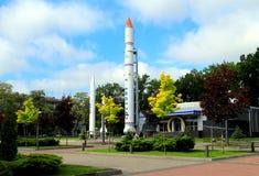 Museo de los cohetes de espacio en el centro en Dnepropetrovsk (Dnipropetrovsk, Dnipro, Dnieper) Foto de archivo