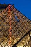 Museo del Louvre di notte Fotografia Stock