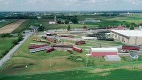 Museo del tren de ferrocarril de Pennsylvania según lo visto por el abejón almacen de metraje de vídeo