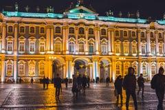 Museo dell'Ermitage San Pietroburgo alla notte Fotografia Stock