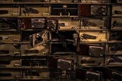 Museo delle figure di cera a Barcellona sul Las Ramblas della via La progettazione del furto del deposito della banca nei giorni  Fotografie Stock Libere da Diritti