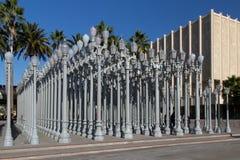 Museo di arte leggero urbano della contea di Los Angeles della scultura Immagine Stock