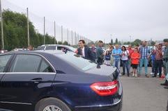 Museo di inaugurazione F1 del driver Fernando Alonso Fotografie Stock Libere da Diritti