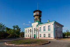 Museo di storia sulla collina nella città di Tomsk Immagini Stock