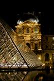 Museo e piramidi del Louvre Fotografia Stock Libera da Diritti
