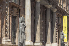 Museo Egizio (Egyptian Museum) in Turin. TURIN, ITALY - CIRCA JULY 2017: Museo Egizio (meaning Egyptian Museum) facade with replica statues of Goddess Sekhmet Stock Photos