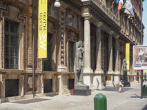 Museo Egizio (Egyptian Museum) in Turin. TURIN, ITALY - CIRCA JULY 2017: Museo Egizio (meaning Egyptian Museum) facade with replica statues of Goddess Sekhmet Stock Photo