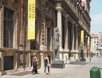 Museo Egizio (Egyptian Museum) in Turin. TURIN, ITALY - CIRCA JULY 2017: Museo Egizio (meaning Egyptian Museum) facade with replica statues of Goddess Sekhmet Royalty Free Stock Photo