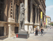 Museo Egizio (Egyptian Museum) in Turin. TURIN, ITALY - CIRCA JULY 2017: Museo Egizio (meaning Egyptian Museum) facade with replica statues of Goddess Sekhmet Stock Image