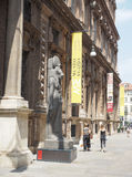 Museo Egizio (Egyptian Museum) in Turin. TURIN, ITALY - CIRCA JULY 2017: Museo Egizio (meaning Egyptian Museum) facade with replica statues of Goddess Sekhmet Stock Photography