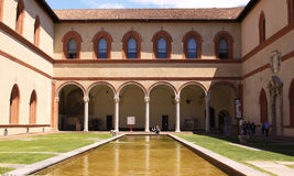 Museo Egizio in Sfortza Castle, Milan. Museo Egizio (Egizio Museum) in Sfortza Castle. Castello Sfortzesco in Milan. Torre del Filarete royalty free stock photo