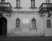 Museo Garibaldi (Garibaldi Museum) in Como in Schwarzweiss Lizenzfreie Stockfotografie