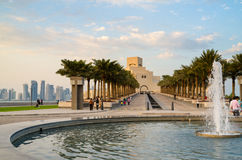 Museo hermoso del arte islámico en Doha, Qatar en la noche Fotos de archivo libres de regalías