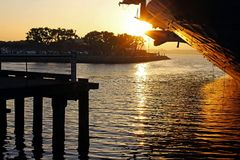 Museo intermediario de USS, puesta del sol, San Diego Bay Fotografía de archivo