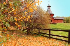 Museo Klomenskoye a Mosca nel fogliame dorato di autunno Immagini Stock Libere da Diritti