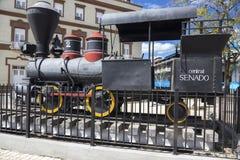 Museo locomotor viejo Camagüey Cuba de Exhibit Outdoor Rail del modelo del motor de vapor del ferrocarril imágenes de archivo libres de regalías