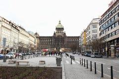 Museo nazionale di Praga nell'ambito di ricostruzione Immagine Stock