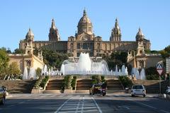 Museo Nazionale MNAC e fontana a Barcellona Fotografia Stock Libera da Diritti