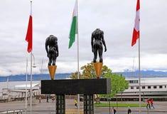 Museo olímpico en Lausanne, Suiza en el lago Lemán Foto de archivo libre de regalías