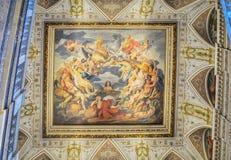 Museo storico, Vienna, Austria 02 02 2019 Un affresco su un soffitto ad un'entrata al museo di Altes nel corridoio centrale vista immagine stock