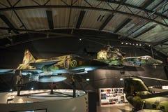 Museo svedese dell'aeronautica dell'esposizione degli aerei della guerra fredda immagini stock libere da diritti