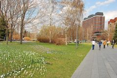 The urban landscape in Moscow. Museon Park in Moscow. Walking the road in the spring stock photography