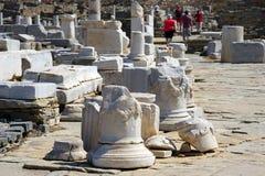 Museu arqueológico de Delos na ilha de Cyclades fotos de stock royalty free
