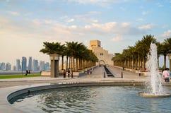 Museu bonito da arte islâmica em Doha, Catar na noite Fotos de Stock Royalty Free