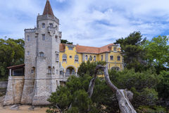 Museu Condes de Castro Guimarães, Cascais, Portugal. An early-19th-century mansion, complete with castle turrets and Arabic cloister, sits in the grounds Royalty Free Stock Photography