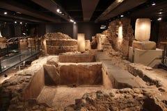 Museu d'Història de la Ciutat de Barcelona. Ancient ruins on display at the Museu d'Història de la Ciutat de Barcelona . This extensive underground museum Stock Photography