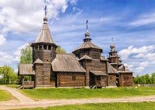 Museu da arquitetura de madeira em Suzdal, Rússia fotografia de stock