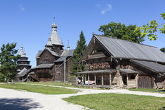 Museu da arquitetura de madeira Vitoslavlitsy Velikiy Novgorod Rússia Imagens de Stock Royalty Free