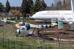 Museu da aviação soviética no aeroporto de Burgas em Bulgária fotografia de stock