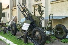 Museu de forças da defesa aérea Montagem antiaérea quádruplo-barreled soviete ZPU-4 da metralhadora Fotografia de Stock